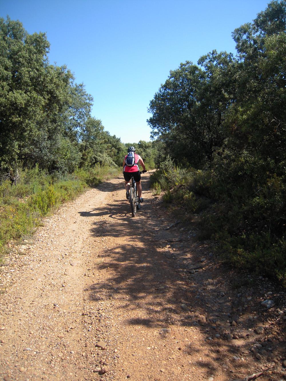 mujer haciendo btt en senderos de la sierra de guara