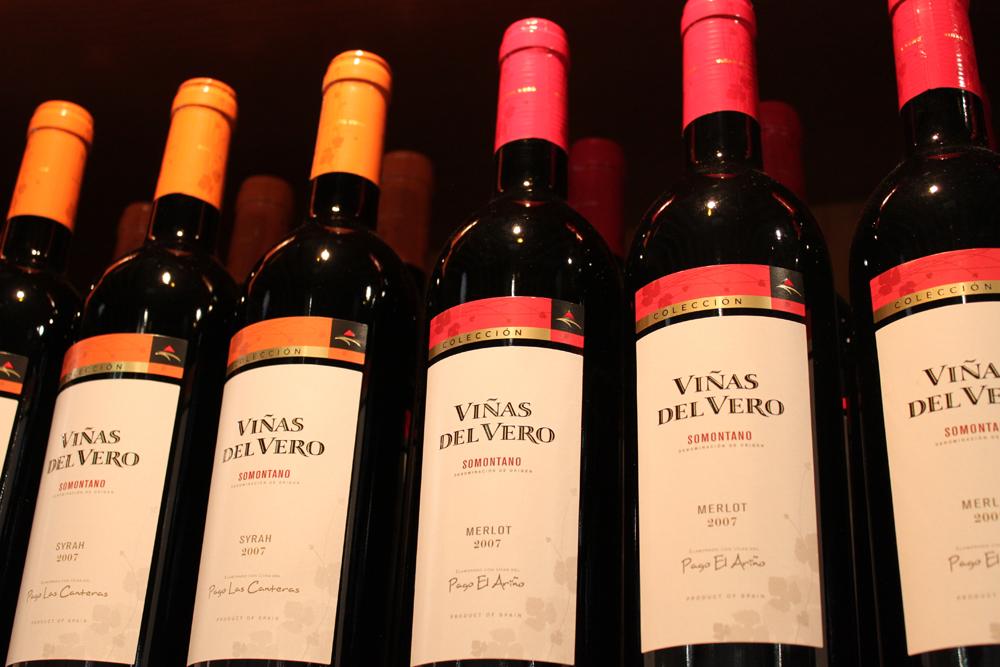 exposición de vinos en bodega viñas del vero