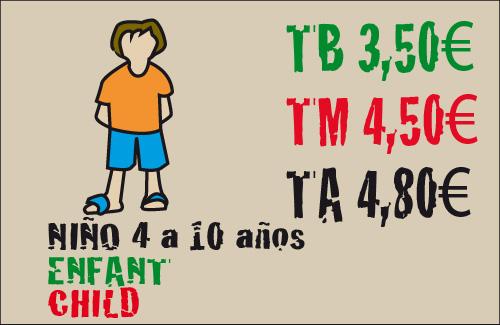 tarifas para los niños 4-10 años