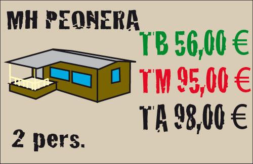 tarifas mobil home peonera 2 plazas