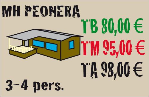 tarifas mobil home peonera 3-4 plazas