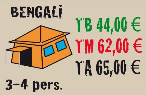 tarifas tienda bengali 3-4 plazas