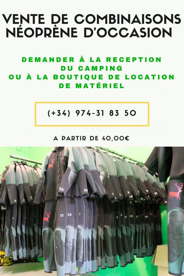 cartel de venta de neoprenos en francés
